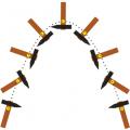 ruch młotka wyrzuconego pod kątem do poziomu - rysunek schematyczny - środek masy
